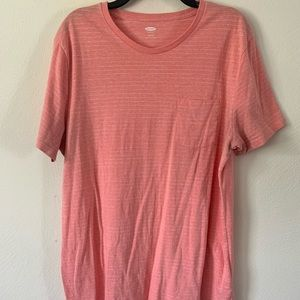 Salmon Old Navy Tee with White Stripes and Pocket